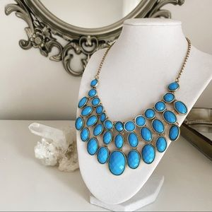 Aqua & gold statement bib necklace